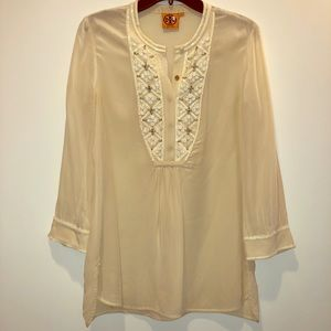 Tory Burch beaded satin tunic cream